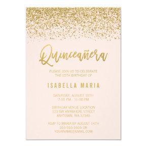 Modern Blush Pink Faux Gold Glitter Quinceanera Invitations