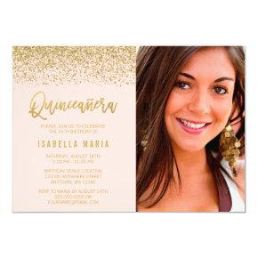 Modern Blush Pink Gold Glitter Quinceanera Photo Invitation