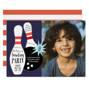 Modern Bowling Blue & red Birthday Party Invitation