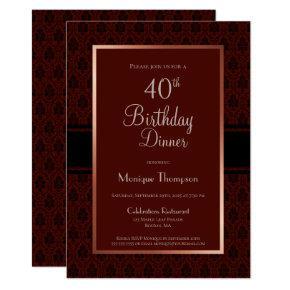 Modern Burgundy Copper 40th Birthday Dinner Party Invitation