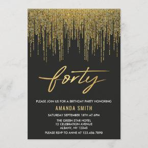 Modern Calligraphy Gold And Black 40th Birthday Invitation