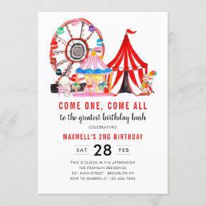 Modern Carnival Circus Festival Show Kid Birthday Invitation