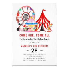 Modern Carnival Circus Festival Show Kid Birthday Invitation