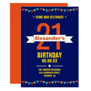 Modern Colorful Typography 21st Birthday Party Invitations