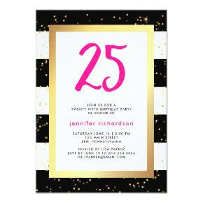 Modern Confetti | 25th Birthday Party Invitation