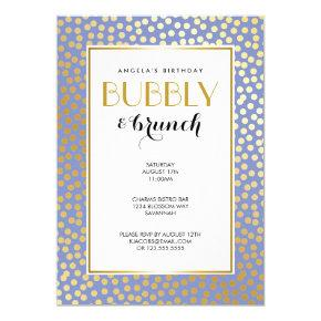 Modern Confetti Polka Dots Lavender Gold Party Card