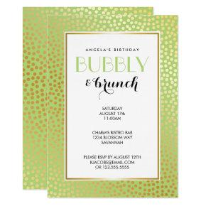 Modern Confetti Polka Dots Lime Gold Brunch Invitation