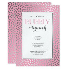 Modern Confetti Polka Dots Pastel Pink and Silver Invitation
