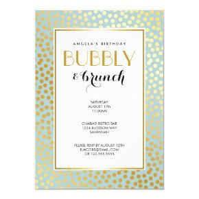 Modern Confetti Polka Dots Pattern Mint and Gold Invitation