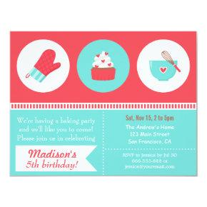 Modern Cupcake Cooking Baking Birthday Party Invitation