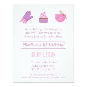 Modern Cupcake Purple Pink Baking Birthday Party Invitation