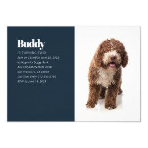 Modern Custom Puppy Dog Photo Birthday Invitation