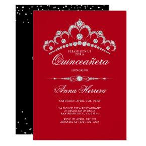 Modern Diamond Tiara Black RED QUINCEAÑERA Invitation