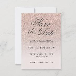 Modern Elegant Rose Gold Save the Date Quinceañera