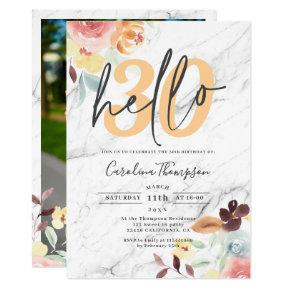 Modern fall white marble floral photo hello 30 invitation
