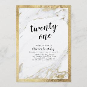 Modern faux gilded gold marble 21st birthday party invitation