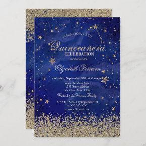 Modern Faux Gold Diamonds Stars Blue Quinceañera Invitation