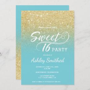Modern faux gold glitter robin egg blue Sweet 16 Invitation