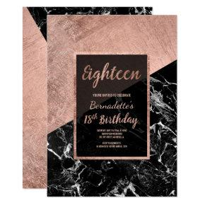 Modern faux rose gold black marble 18th birthday Invitations