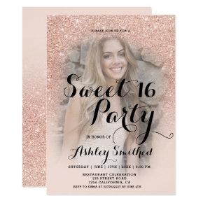 Modern faux rose gold glitter ombre photo Sweet 16 Invitations