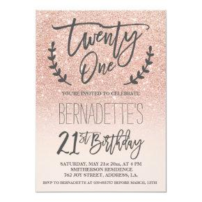 Modern Faux Rose Gold Glitter Script 21st Birthday Candied Clouds