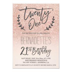 Modern faux rose gold glitter script 21st Birthday Invitation