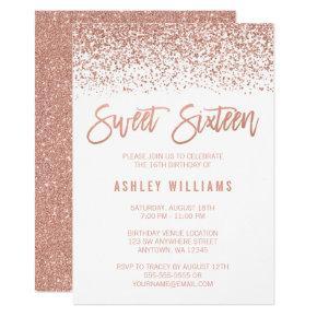 Modern Faux Rose Gold Glitter Sweet 16 Birthday Card