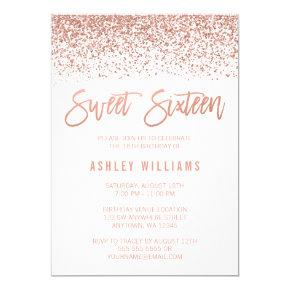 Modern Faux Rose Gold Glitter Sweet 16 Birthday Card