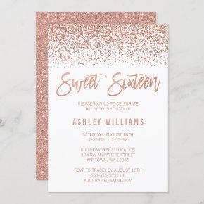 Modern Faux Rose Gold Glitter Sweet 16 Birthday Invitation