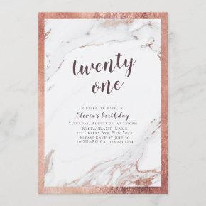 Modern faux rose gold marble 21st birthday party invitation