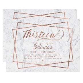 Modern faux rose gold script marble thirteen invitation