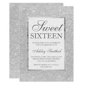 Modern faux silver glitter elegant chic Sweet 16 Invitation