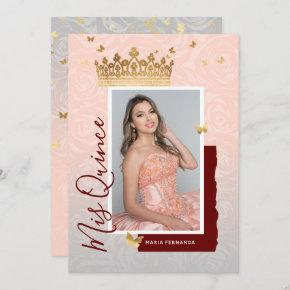 Modern Floral Pink Gold Elegant Photo Quinceanera Invitation