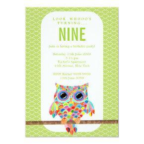 Modern Girls Birthday Party Rainbow Owl Invite