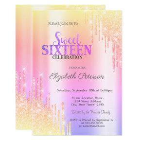 Modern Glitter Ombre Drips Sweet 16 Invitation