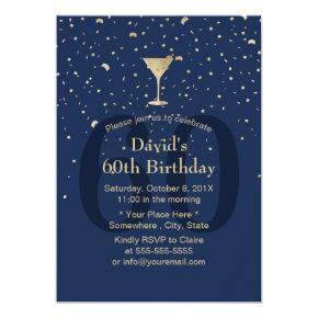 Modern Gold Confetti Navy 60th Birthday Wine Party Invitation