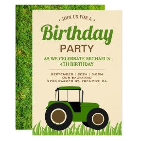 Modern Green Farm Tractor Kids Birthday Party Invitation