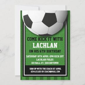 Modern Green Football Soccer Playing Field Party Invitation