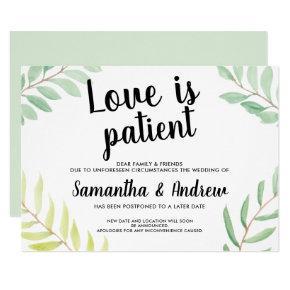 Modern greenery watercolor love is patient wedding invitation