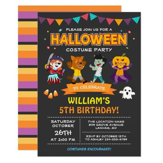 Modern Halloween Kids Costume Party Invitation