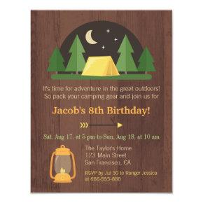 Modern Kids Camping Birthday Party Invitations