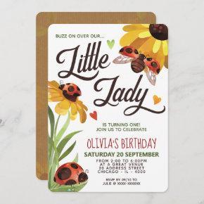 Modern Lady Bug Birthday Invitation
