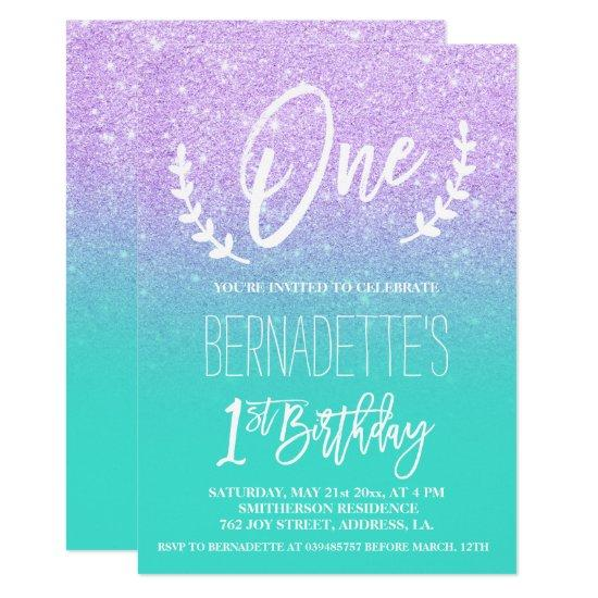 Modern Lavender Glitter Typography First Birthday Card Candied Clouds