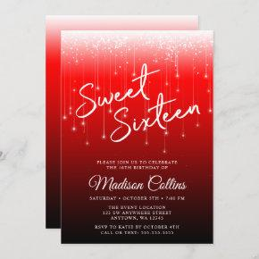 Modern Lights Red Black Sweet 16 Invitation