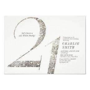 Modern minimalist all white party 21st birthday invitation