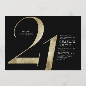 Modern minimalist black and gold 21st birthday invitation