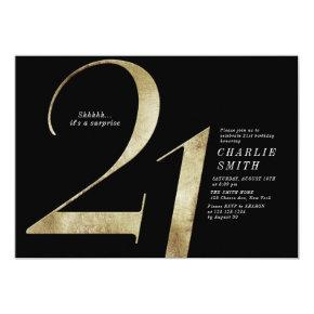 Modern minimalist black and gold 21st birthday invitation