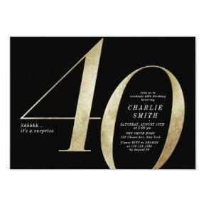 Modern minimalist black and gold 40th birthday invitation