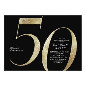 Modern minimalist black and gold 50th birthday invitation