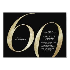 Modern minimalist black and gold 60th birthday invitation